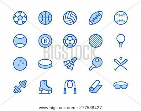 Sports Equipment Blue Line Icon. Vector Illustration Flat Style. Included Icons As Sport Balls, Bask