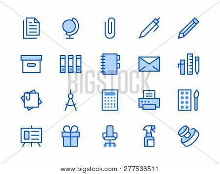 Stationery Supplies Store Blue Line Icon. Vector Illustration Flat Style. Included Icons As Office F