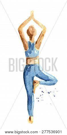 Yoga Concept. Vrikshasana. Tree Pose. Woman Practice. Watercolor Hand Drawn Illustration  Isolated O
