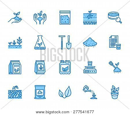Soil Testing Flat Line Icons Set. Agriculture, Planting Vector Illustrations, Hands Holding Ground W