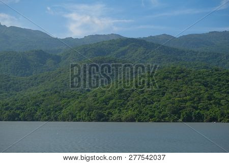 Panoramic Image Of Forest, Lake And Mountain. Royalty High-quality Free Stock Photo Image Of Forest