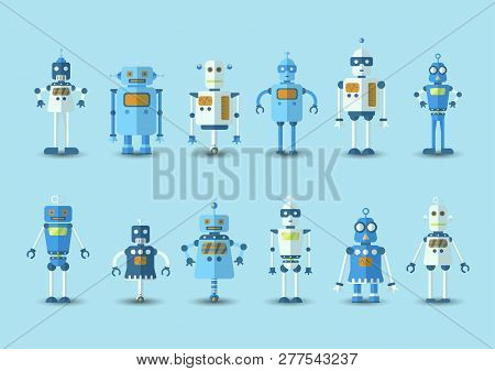 Retro Vintage Funny Vector Robot Set Icon In Flat Style Isolated On Blue Background. Vintage Illustr