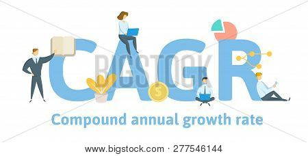 Cagr, Compound Annual Growth Rate. Concept With Keywords, Letters And Icons. Flat Vector Illustratio