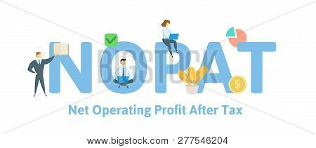 Nopat, Net Operating Profit After Tax. Concept With Keywords, Letters And Icons. Flat Vector Illustr