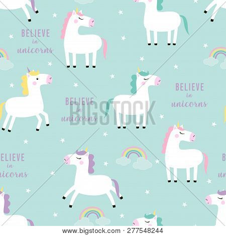 Seamless Unicorn Pattern, Colorful Illustration Of Magical Animals Isolated On Background With Stars