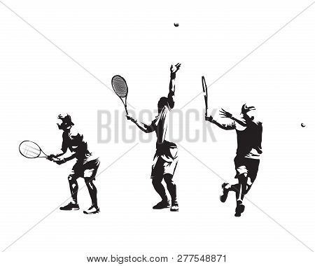 Group Of Tennis Players, Set Of Vector Silhouettes. Isolated Ink Drawings