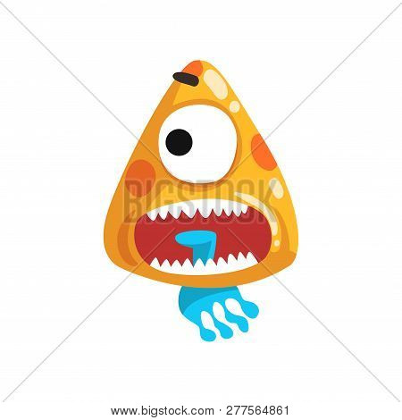 Funny One Eyed Toothy Monster, Fabulous Creature Cartoon Character Vector Illustration