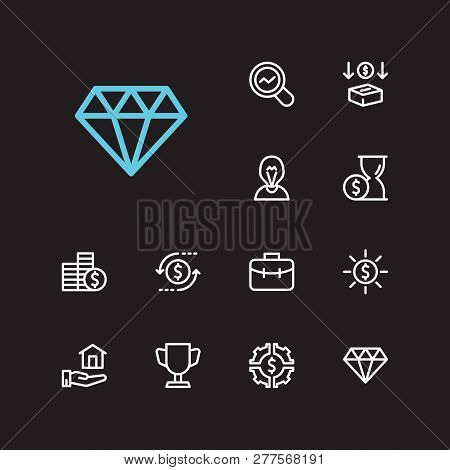 Economy Icons Set. Jewelry And Economy Icons With Competition, Market Research And Time Money. Set O