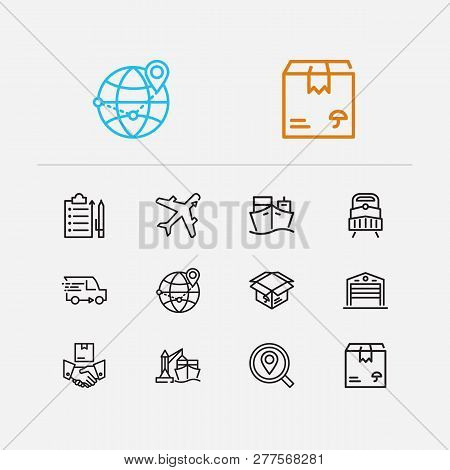 Logistics Icons Set. Distribution And Logistics Icons With Delivery Location, Delivery Train And Del