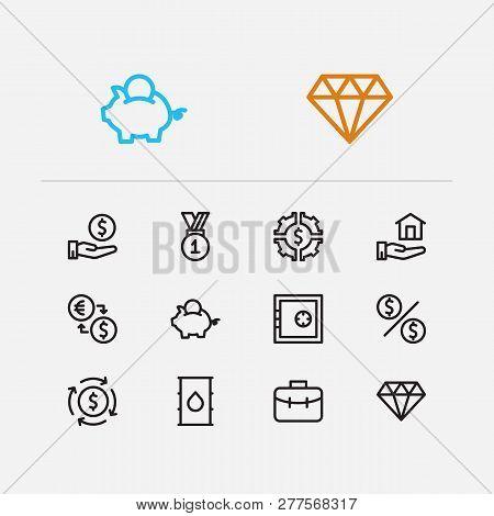 Economy Icons Set. Petroleum And Economy Icons With Money Flow, Jewelry And Investor Portfolio. Set