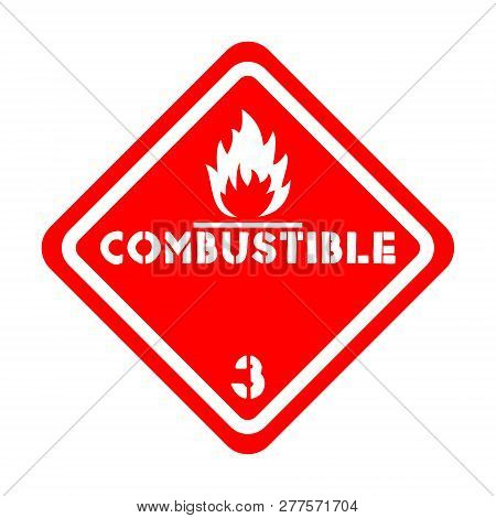 Combustible Level 3 Attention Vector Sign Sticker Isolated