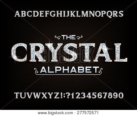 Crystal Alphabet Font. Luxury Diamond Letters And Numbers With Gold Bevel. Stock Vector Typescript F