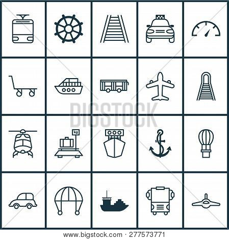 Transportation Icons Set With Ship Hook, Railroad, Air Transport And Other Railroad Elements. Isolat