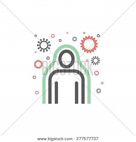 Immunity System Line Icon. Human Immune System Vector Design. Virus And Bacteria Illustration