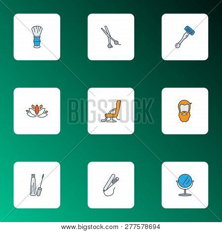 Hairdresser Icons Colored Line Set With Mascara, Scissors, Mirror And Other Vanity Elements. Isolate