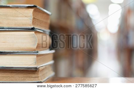 Book Stack In Library Study Room With Bookshelf For Business And Education Background, Class Learnin