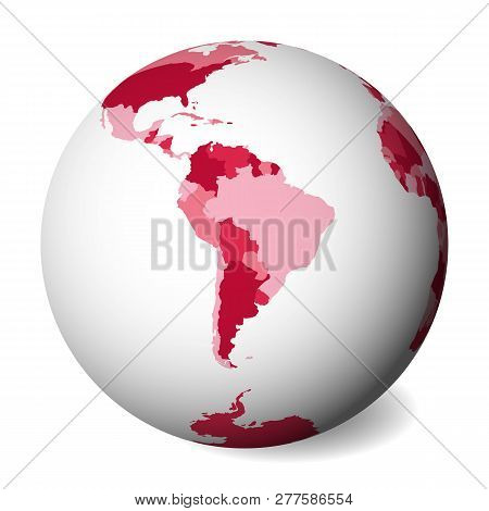 Blank Political Map Of South America. 3d Earth Globe With Pink Map. Vector Illustration