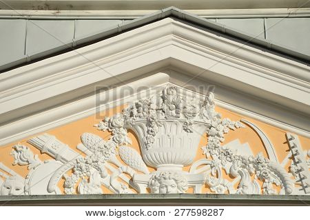 Fragment Of Pediment Decorated With Classic And Floral Details