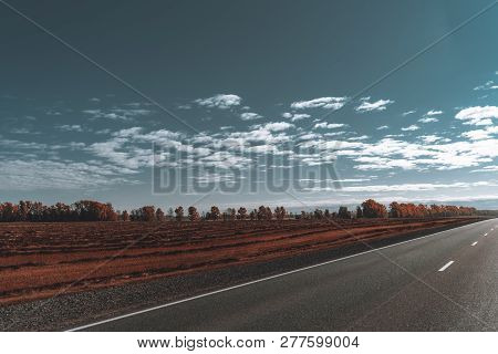 Wide-angle Autumn View Of An Empty Road Or A Highway Stretching Into Vanishing Point During A Trip T