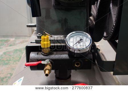Valve, Safety Valve And Pressure Gauge On Air Pressure Tank
