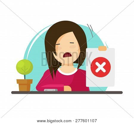 Unhappy Girl Showing Negative Answer Vector Illustration, Flat Cartoon Woman Person Character With N