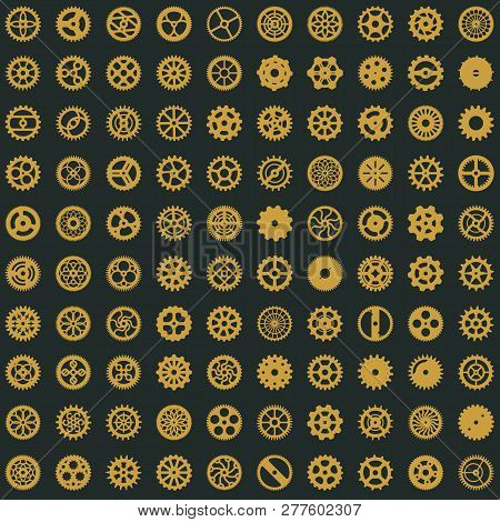 Victorian Era Seamless Pattern Design. Steampunk Cogwheels Digital Paper. Gears On Light Background