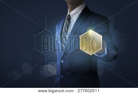 Hexagon Message Bubbles For Business And Finance Concept. Businessman Is Touching A Blank Message Bu