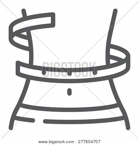 Weight Loss Line Icon, Fitness And Body, Waistline Sign, Vector Graphics, A Linear Pattern On A Whit
