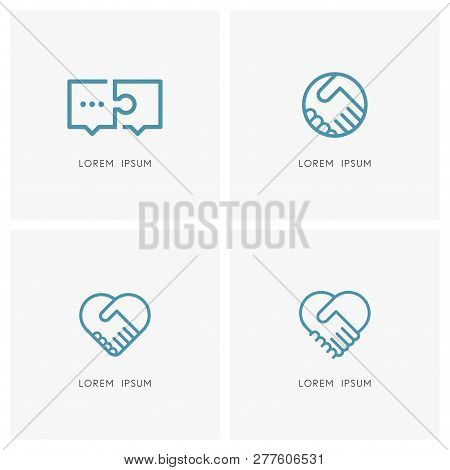 Teamwork And Cooperation Logo Set. Puzzle Conversation And Handshake Symbols - Dialogue And Discussi