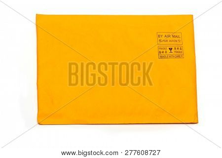 an old air mail envelope isolated oon white background