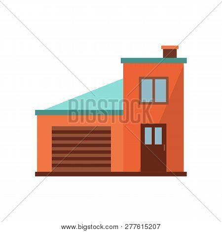 Orange Duplex With Blue Roof Illustration. Home, Design, Architecture. Building Concept. Vector Illu