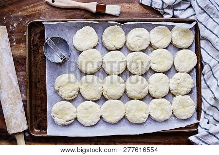 Raw Buttermilk Southern Biscuit Or Scone Dough From Scratch With Rolling Pin And Basting Brush. Top