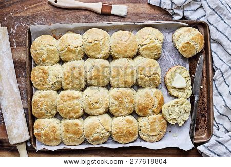 Freshly Baked Buttermilk Southern Biscuits Or Scones From Scratch With Rolling Pin And Basting Brush