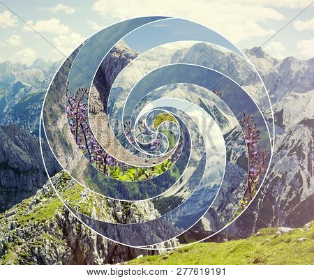 Abstract Mosaic Collage With The Image Of The Mountain Landscape And The Sacred Geometry Symbol Spir