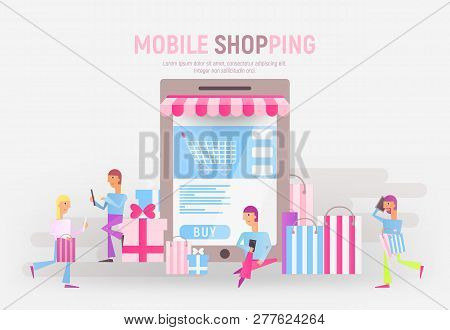 Modern Flat Design Concept Of E-commerce Online  - People Who Do Mobile Shopping In Front Of Huge Sm