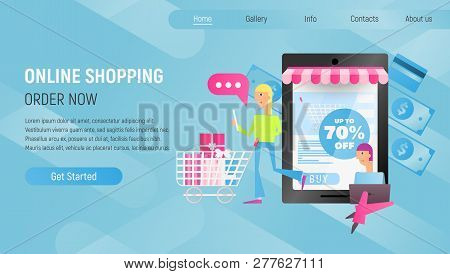 Online Shopping Landing Page. E-commerce Concept. Young Man And Girl Making Purchases Using Laptop N