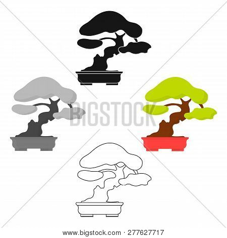 Bonsai Icon In Cartoon Style Isolated On White Background. Japan Symbol Stock Vector Illustration.