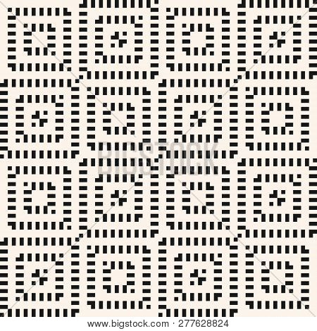 Vector Geometric Seamless Pattern. Black And White Abstract Graphic Background With Squares, Grid. W