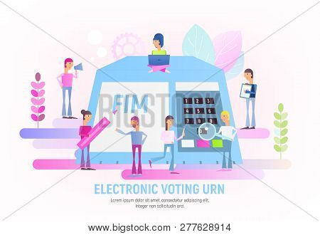 People Make Choices Using Electronic Urn. Modern Electronic Voting System For Election. Vector Illus