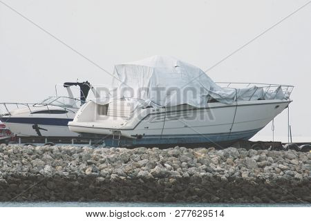 Manama, Bahrain, January 2, 2019: Manama Of Bahrain - Boat In Marina Beach