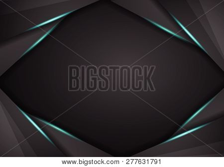 Abstract Metallic Black Blue Frame Sport Design Concept Innovation Background. Technology Background