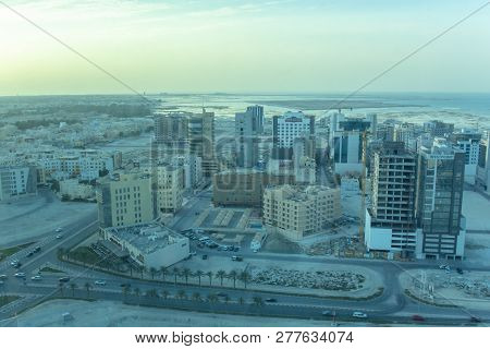 Manama, Bahrain, December 29, 2018: View Of The Skylines And Buildings Landmark Of In Bahrain In Kar