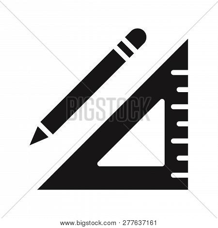 Pencil And Square Ruler Icon Isolated On White Background. Pencil And Square Ruler Icon In Trendy De