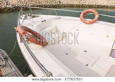 Luxury Boat With 2 Life Wheels - Nautical Vessel