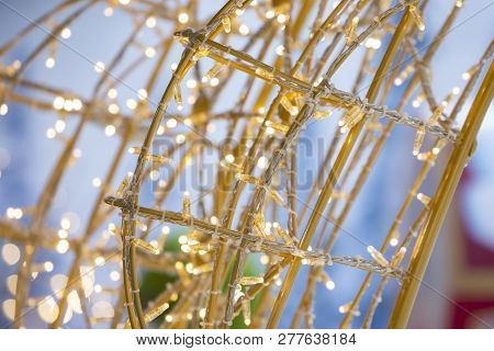 New Year Background With Lighting Tree And Snowman Lighting Background