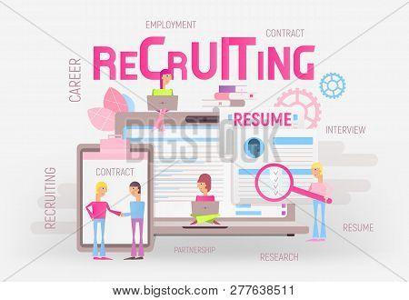 Modern Flat Design Hiring, Job Interview And Recruitment Concept - Young Men And Women Near Big Lapt