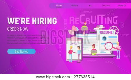 Landing Page Template Of Hiring, Job Interview And Recruitment - Young Men And Women Near Big Laptop