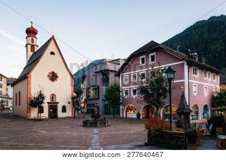 Ortisei, Italy - 5 October, 2017: Pedestrian Area Of Ortisei Town Ski Resort In North Of Italy.