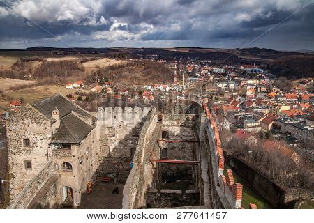 Bolkow, Poland, February 26,2012: Bolkow Town, View From The Castle Tower. Poland.