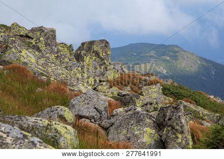 Rocky Mountain Scenery, Carpathian, Ukraine. Beautiful Landscape View.